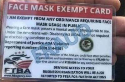 Mask exemption cards fake, not authorized by government