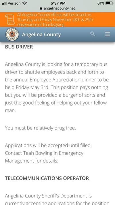 Screenshot county website bus driver