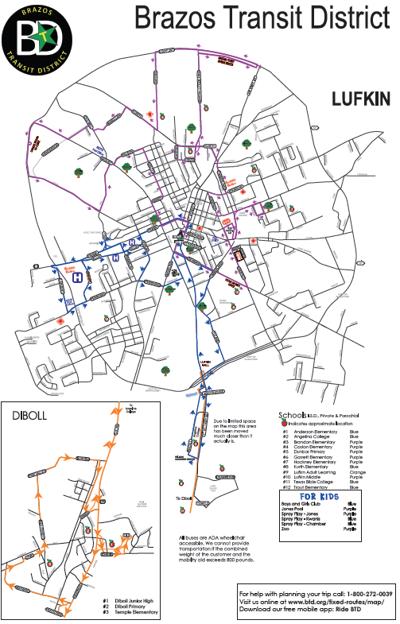Proposed Brazos Transit District map