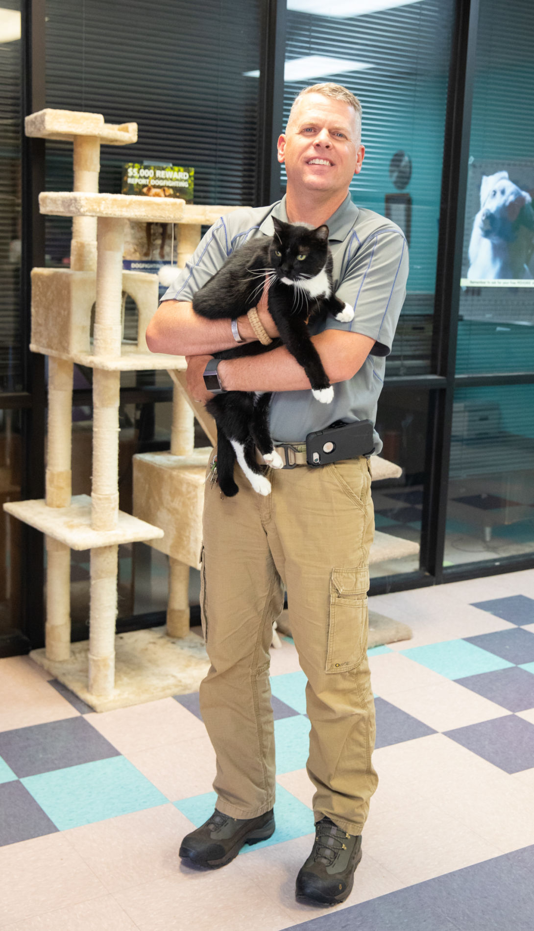 Aaron Ramsey at the Kurth Memorial Animal Shelter