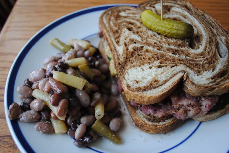Blowin' Smoke, pastrami sandwich and six-bean salad