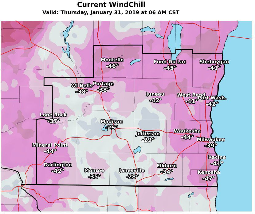 National Weather Service wind chill map, 1-31-19