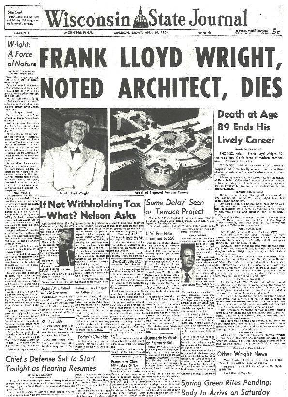 Death of Frank Lloyd Wright
