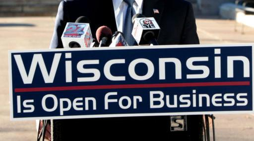 Wisconsin is Open for Business sign, State Journal 2014 photo