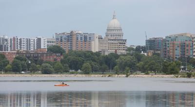 Boats on lake, CT photo
