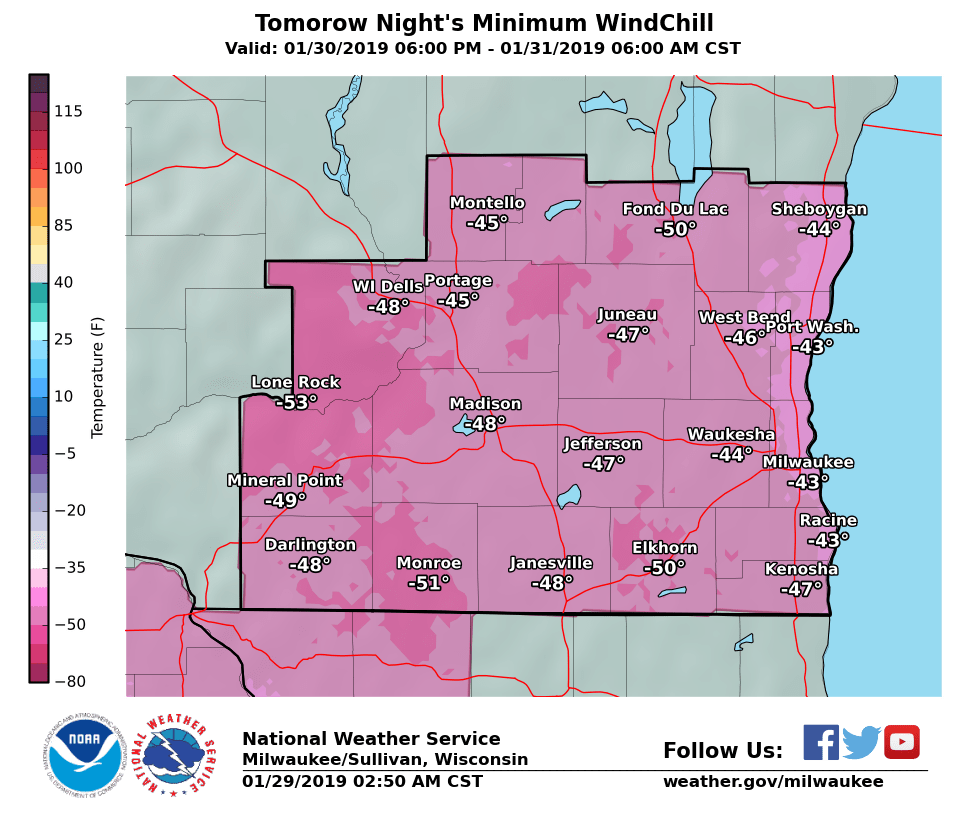 National Weather Service wind chill Wednesday night