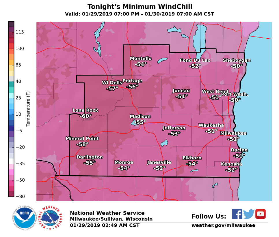 National Weather Service wind chill Tuesday night