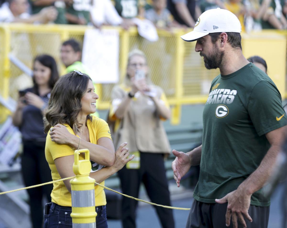 Aaron Rodgers, Danica Patrick, Packers preseason game, State Journal photo