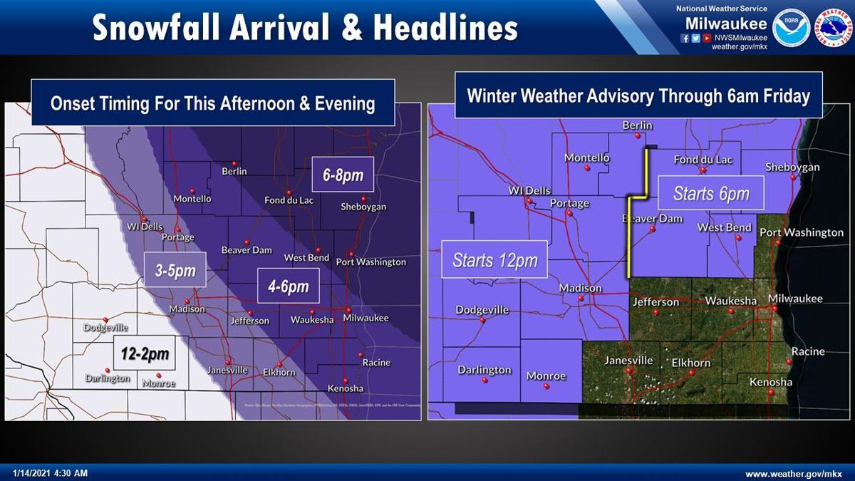 Snowfall arrival, ww advisory by National Weather Service