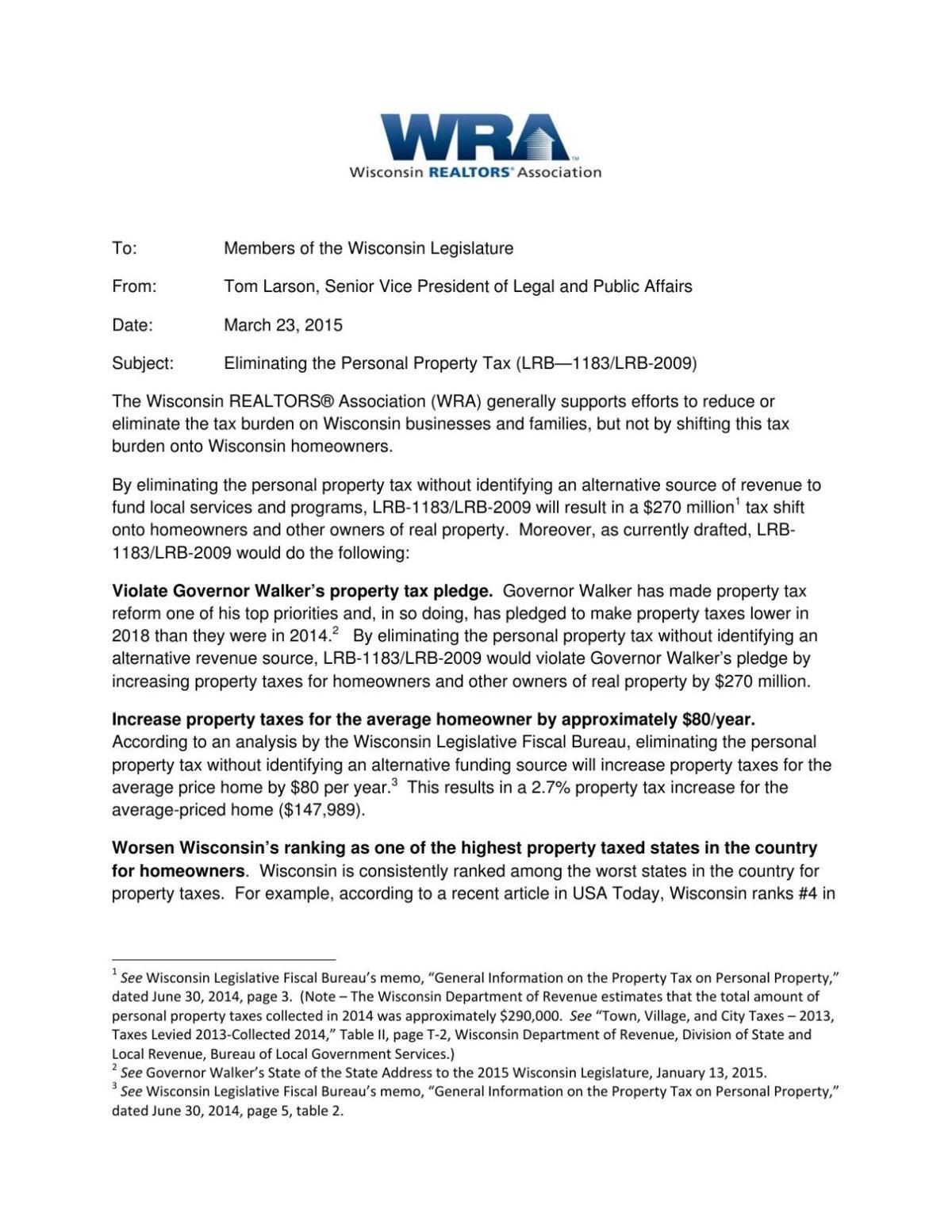Realtors letter opposing tax shift