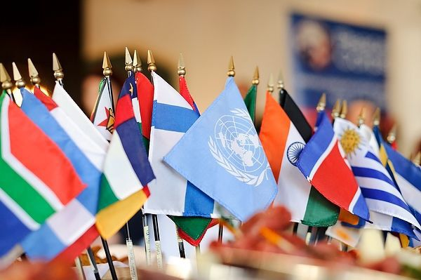 International flags at Peace Corps event
