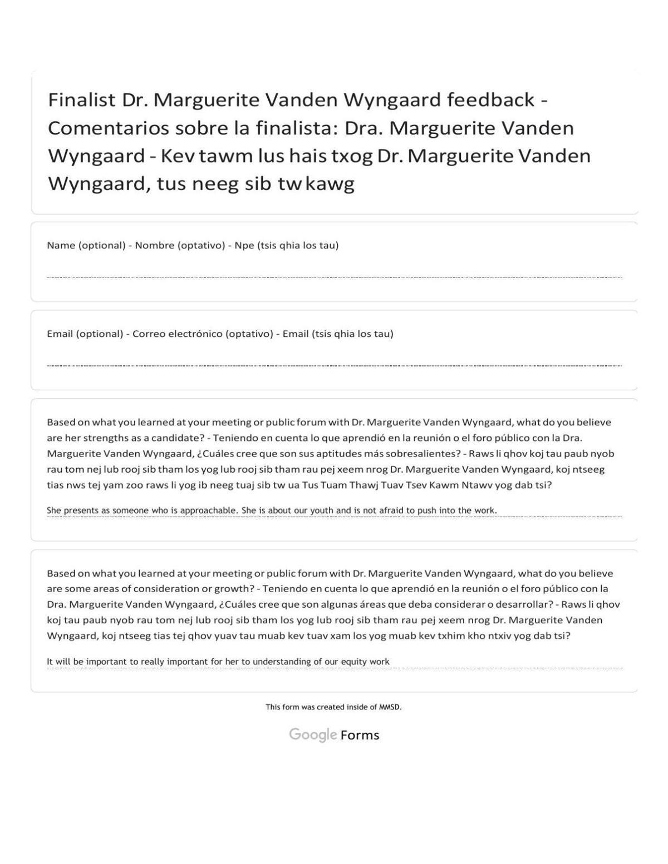 Vanden Wyngaard feedback