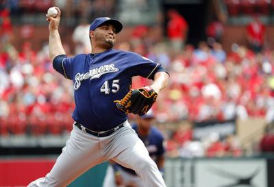 Jhoulys Chacin pitches, AP photo