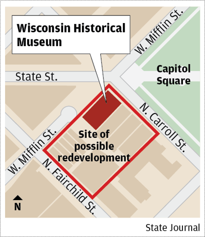 Wisconsin history museum redevelopment map