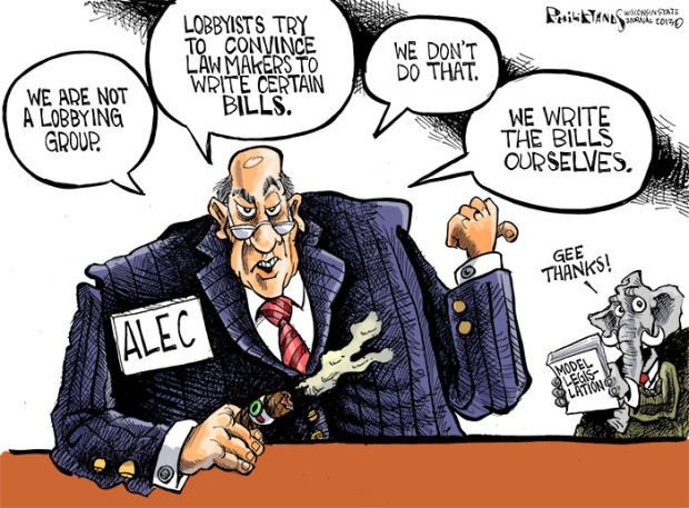 Hands Cartoon: ALEC, not your average lobbying group
