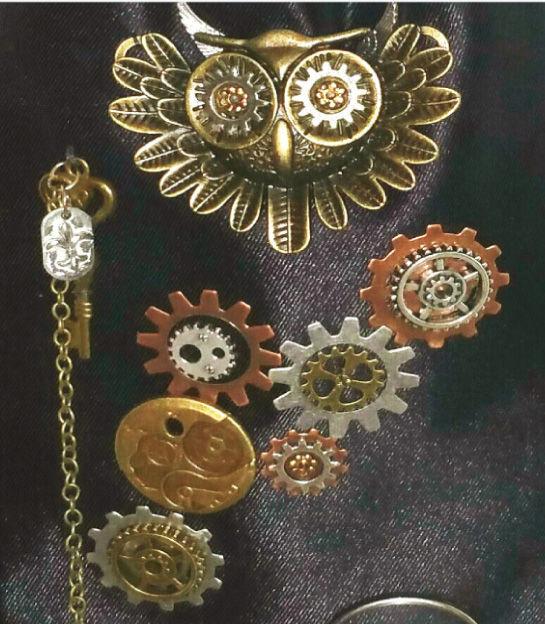 """Steampunk Voyage Manifique"" -- owl jewelry"