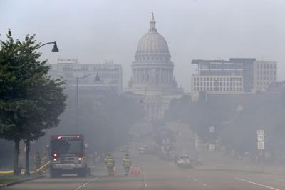 Explosion and fire in Downtown Madison