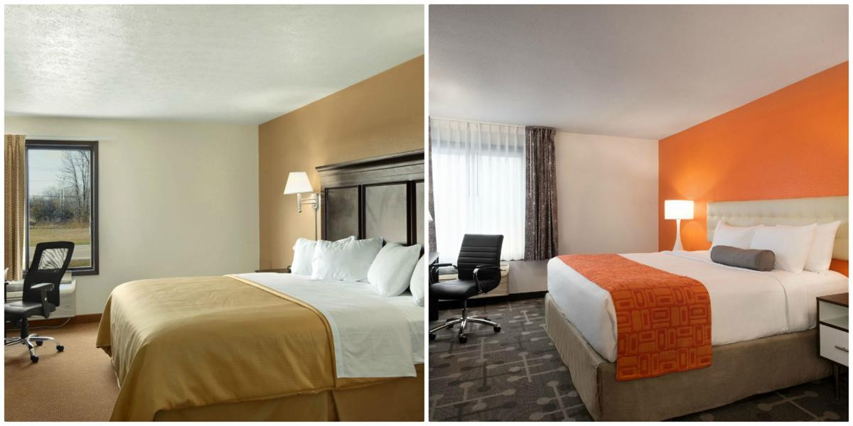 Before and after photos of a guestroom at a Wisconsin HoJo's.