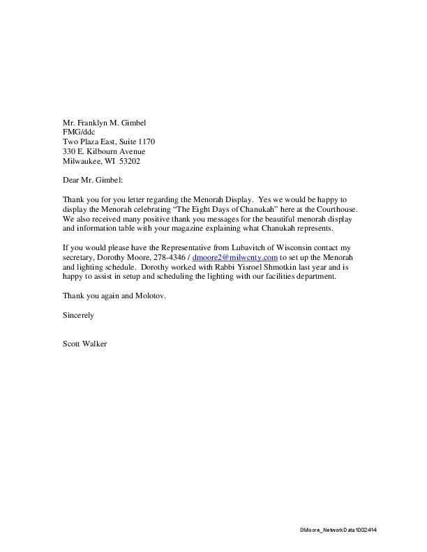 Scott Walker 'menorah' letter to Franklyn Gimbel