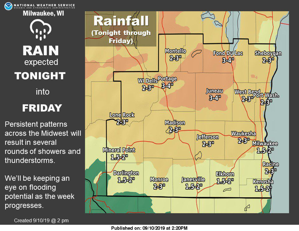 NATIONAL WEATHER SERVICE expected rain totals 9-11-19