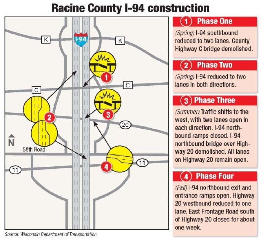 I-94 construction in southeast Wisconsin starts Monday
