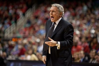 Maryland head coach Gary Williams on the court during first round the 2011 ACC men's basketball tournament at the Greensboro Coliseum on March 10, 2011 in Greensboro, N.C.