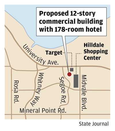 Proposed 12-story building with hotel
