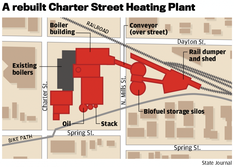 Map of the rebuilt Charter Street Heating Plant