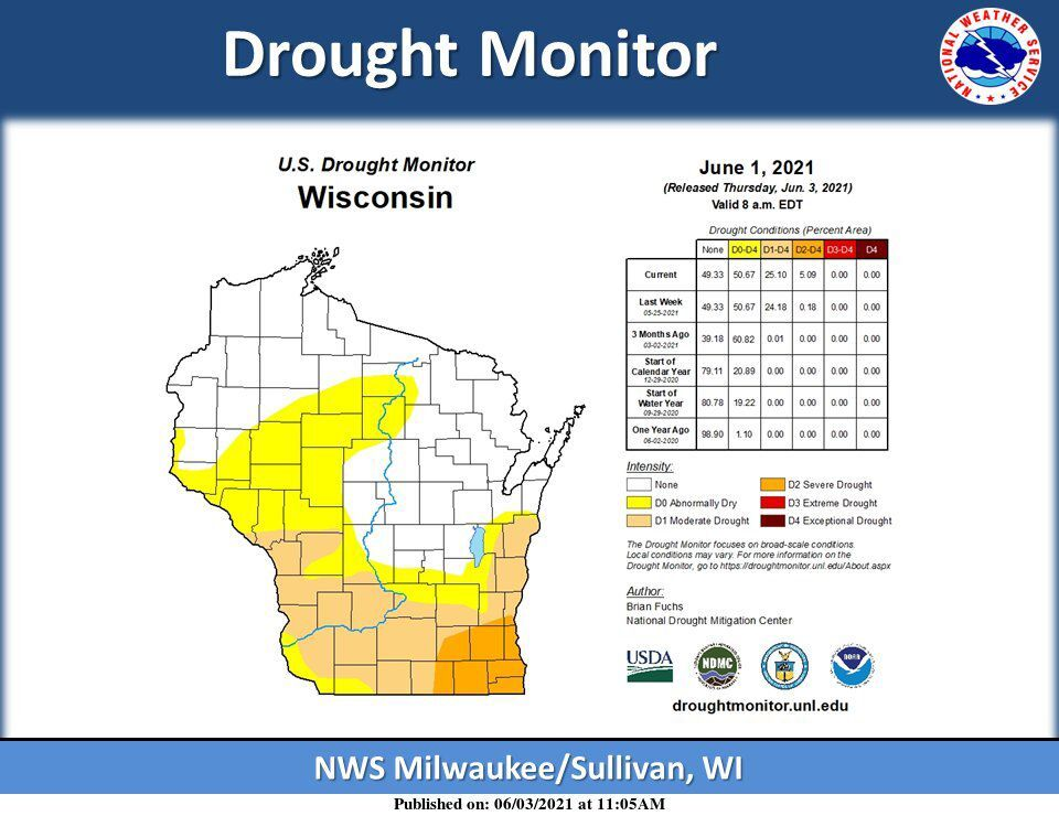 Drought monitor Wisconsin 6-1-21 by National Weather Service