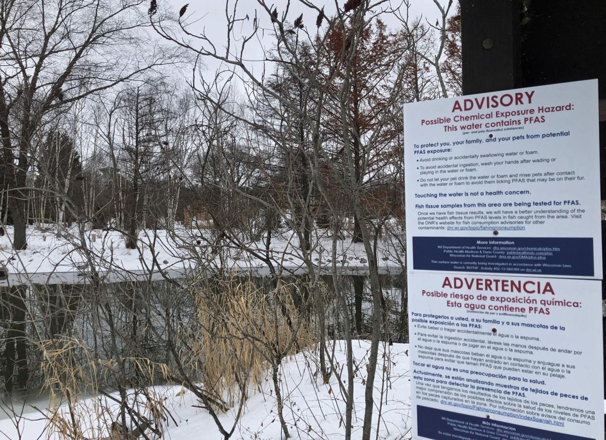 PFAS sign on Starkweather Creek