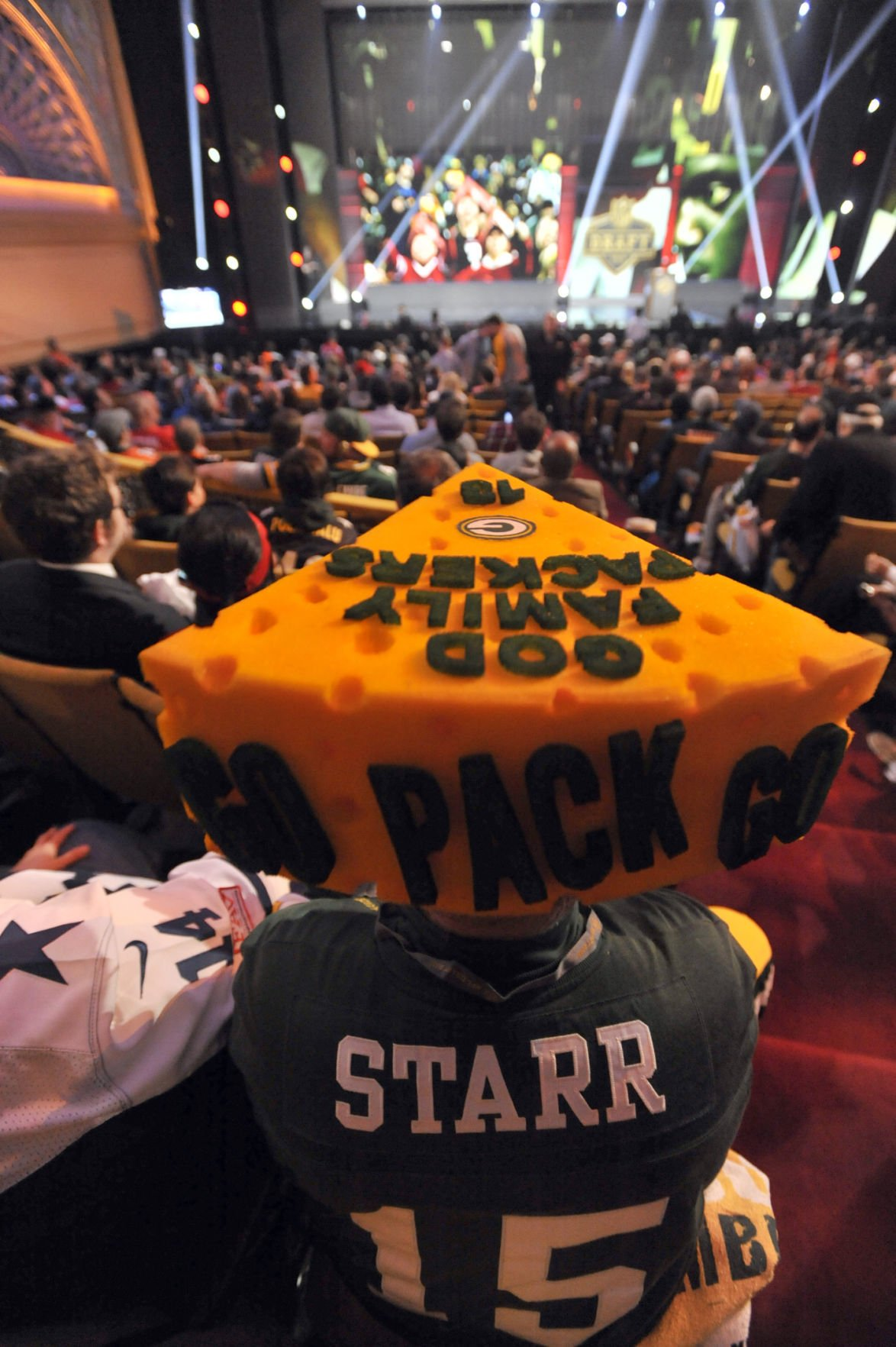 Packers fan in cheesehead at 2015 NFL draft, AP photo