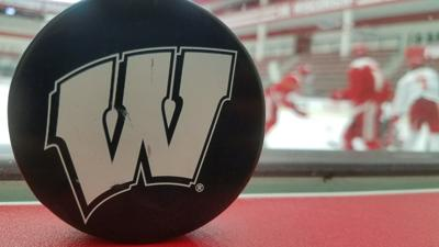 Badgers women's hockey puck, generic file photo