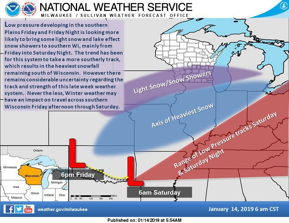 National Weather Service late week snowstorm, 1-14-19