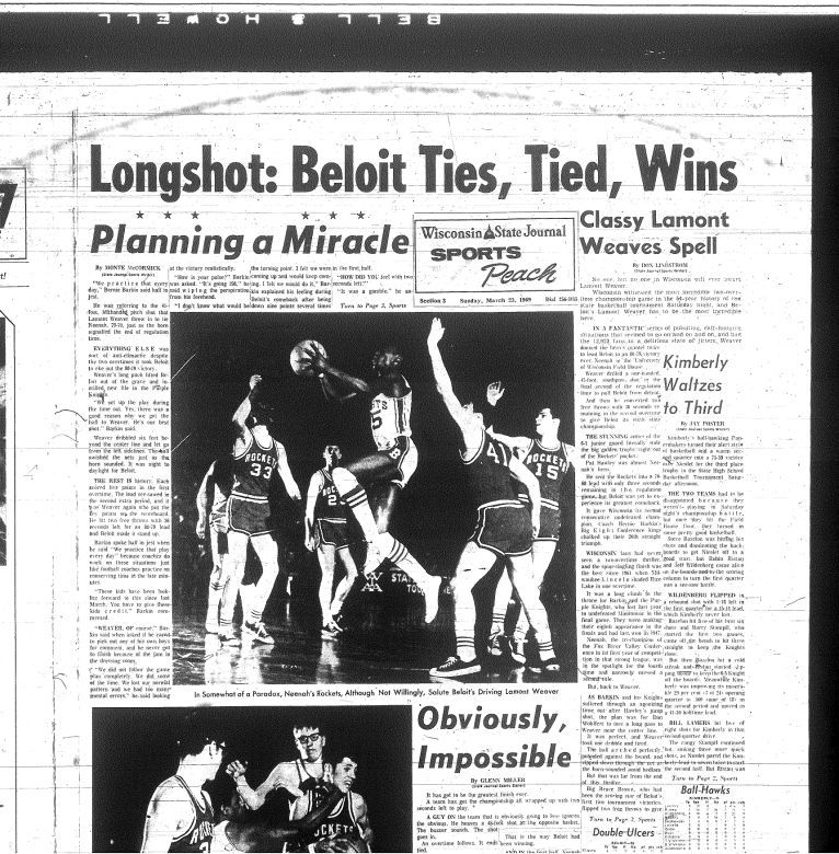 LaMont Weaver: March 23, 1969, Wisconsin State Journal sports page chronicles the big shot