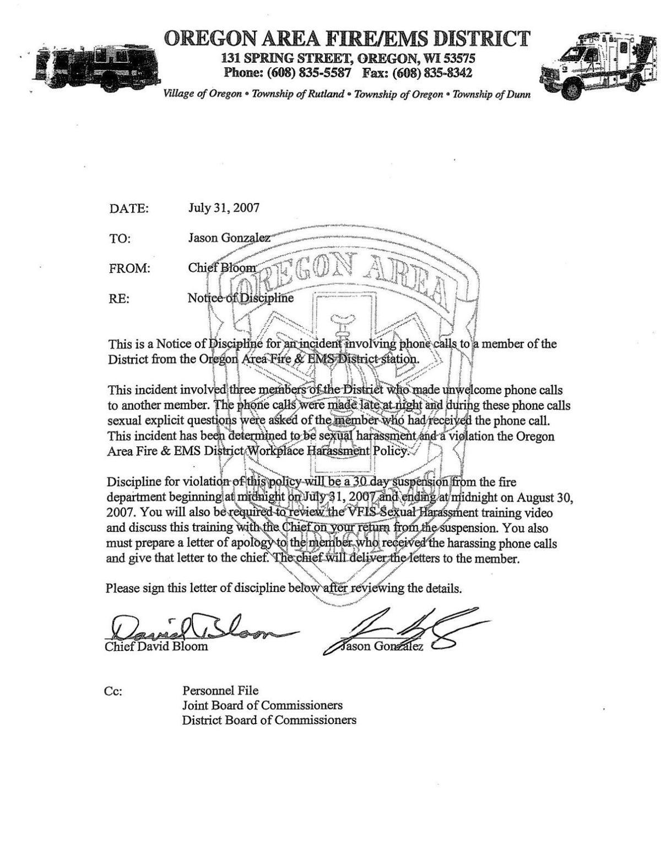 Jason Gonzalez disciplinary records