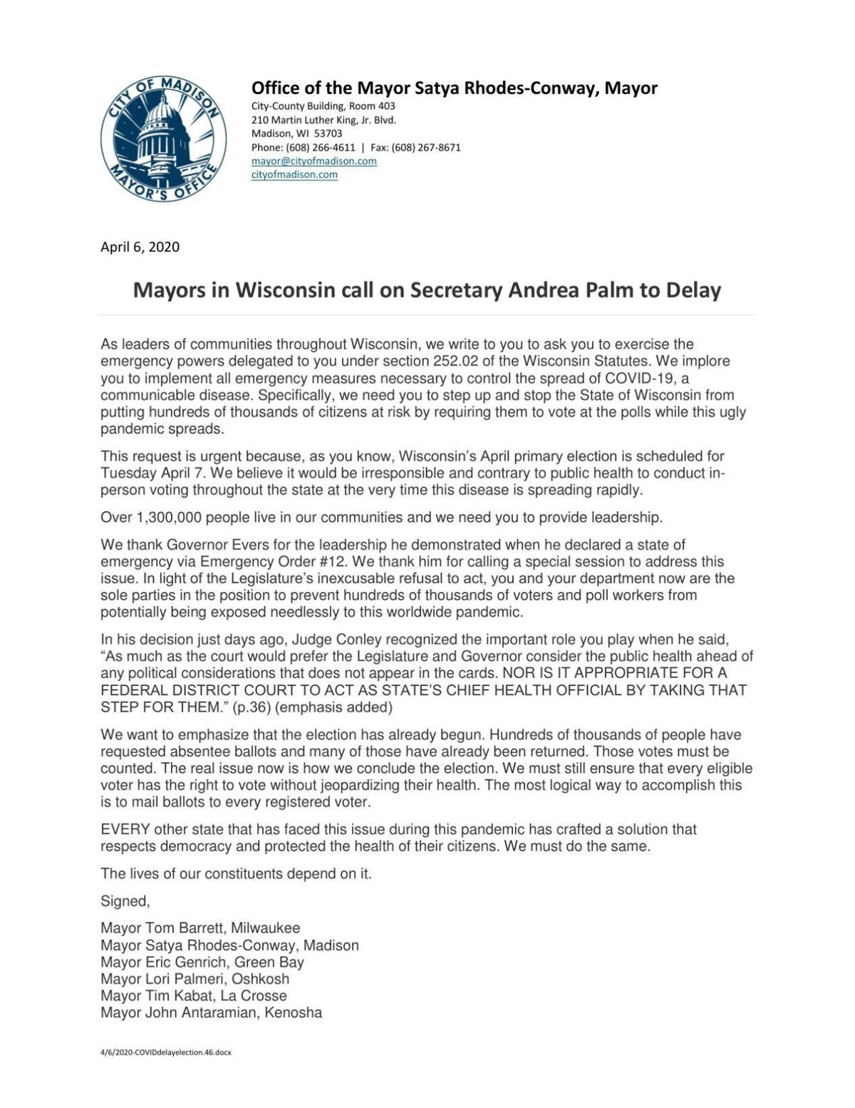 Mayors' letter asking for election delay.pdf