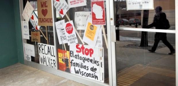 Protest signs at Underground Kitchen