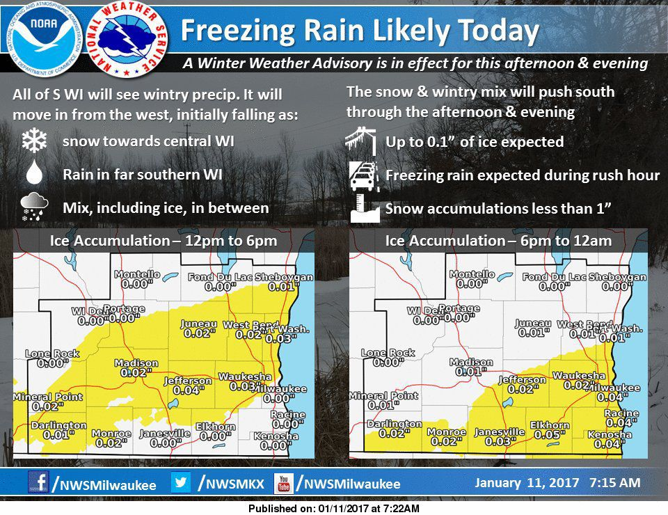 Freezing rain in wintry mix Wednesday afternoon, evening