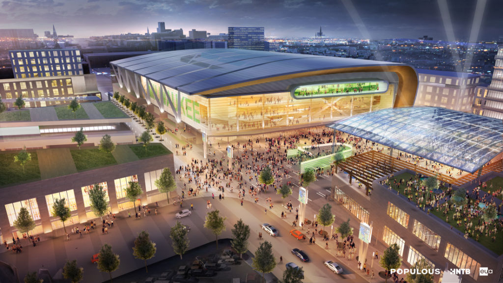 Plaza aerial view, proposed entertainment district with new Milwaukee Bucks arena rendering