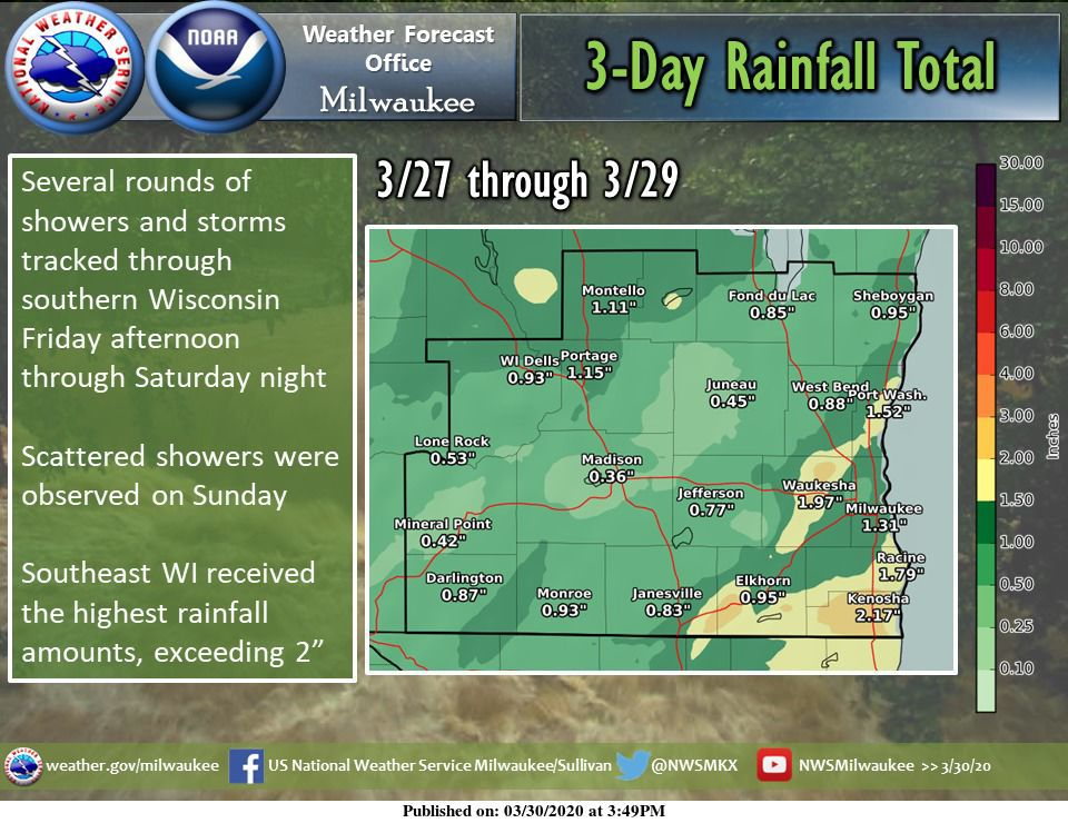 Weekend rain totals by National Weather Service