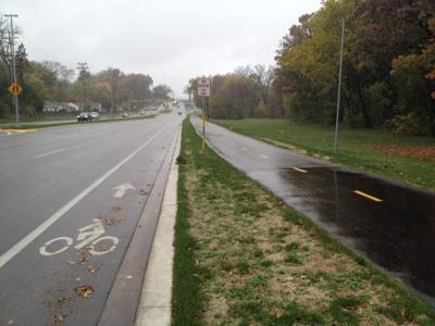 Bike lane with bike path