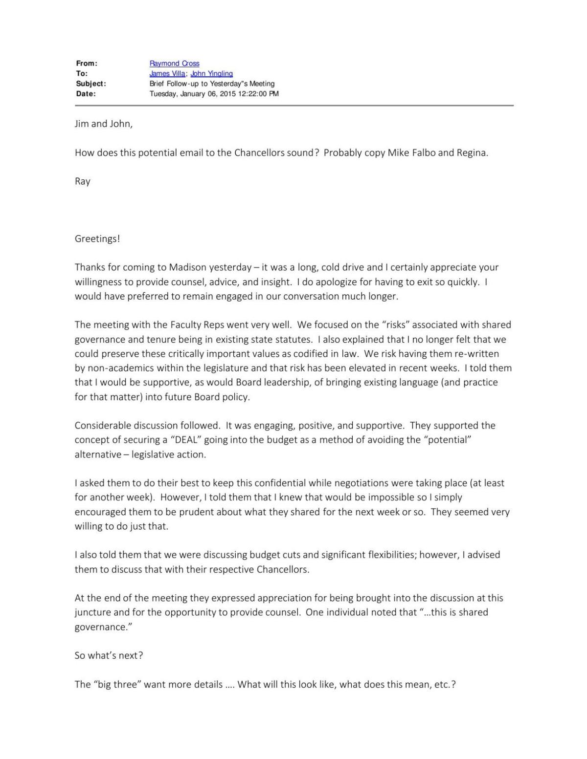 UW System emails regarding budget cuts
