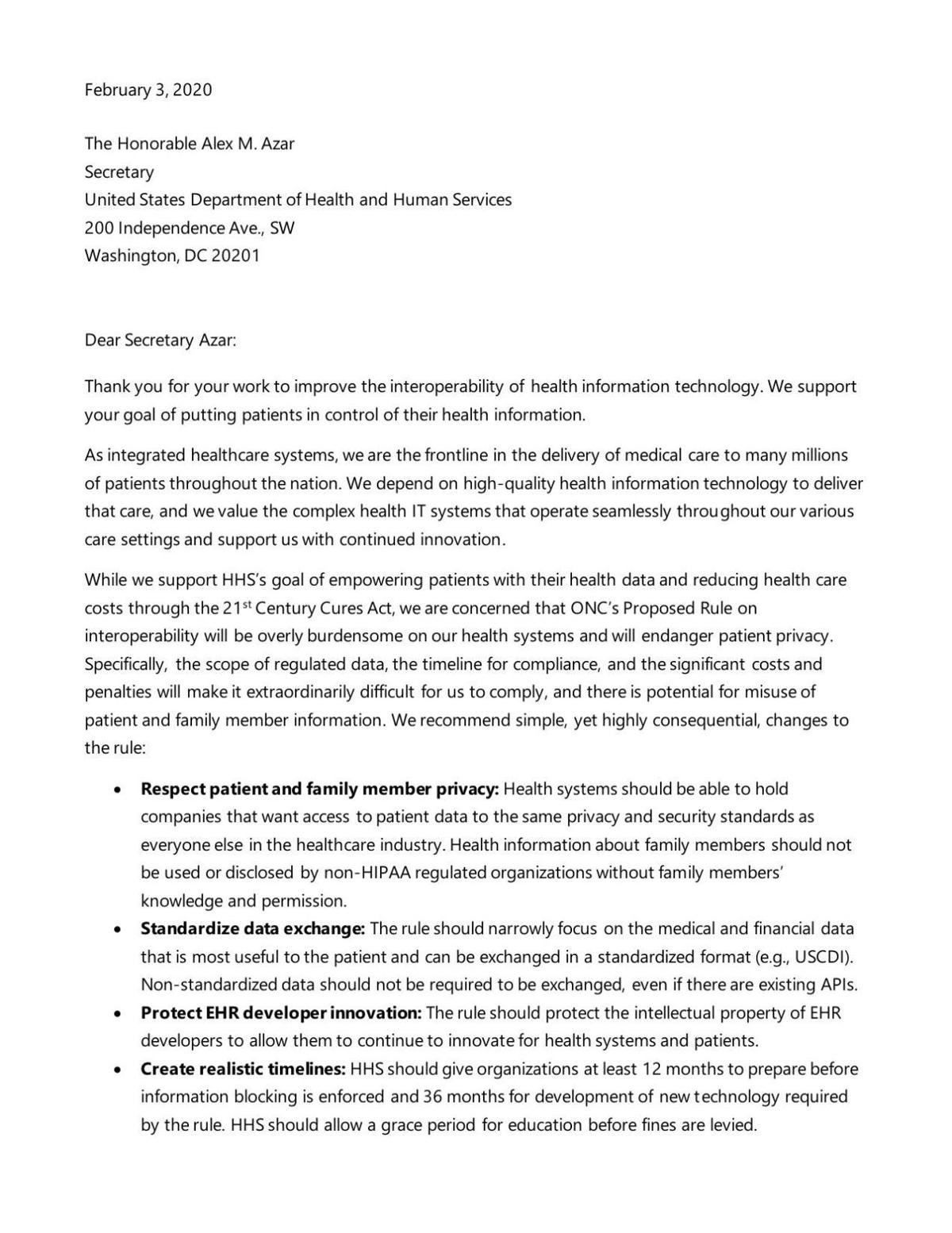 Letter from some Epic clients to HHS secretary
