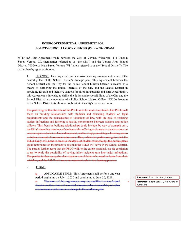 Proposed Verona school officer agreement
