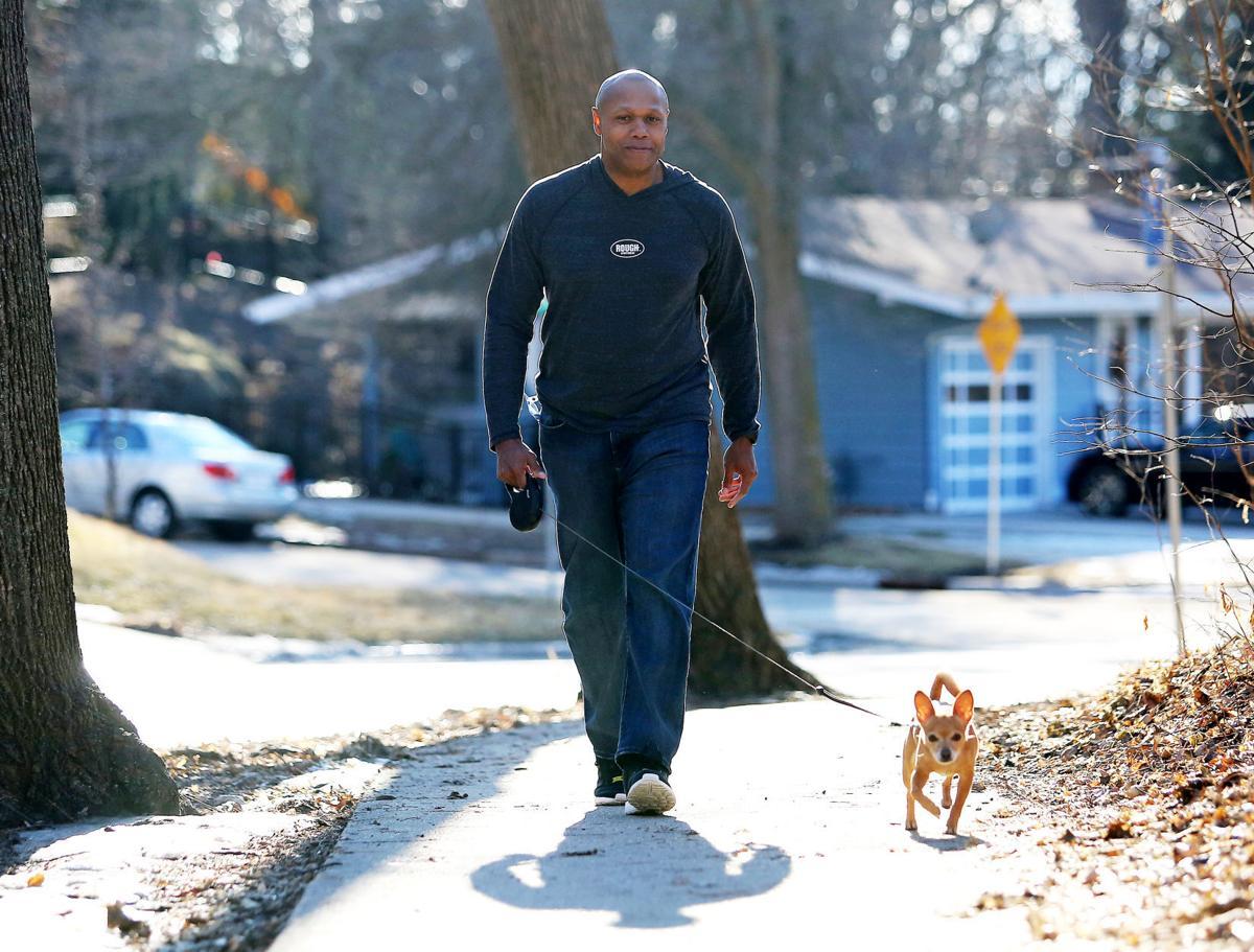 Trent Jackson walking Sergio