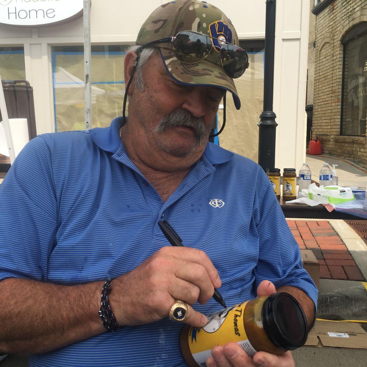 Former Brewers slugger Gorman Thomas hawks his Stormin Sauce