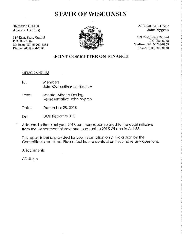 DOR report to JFC