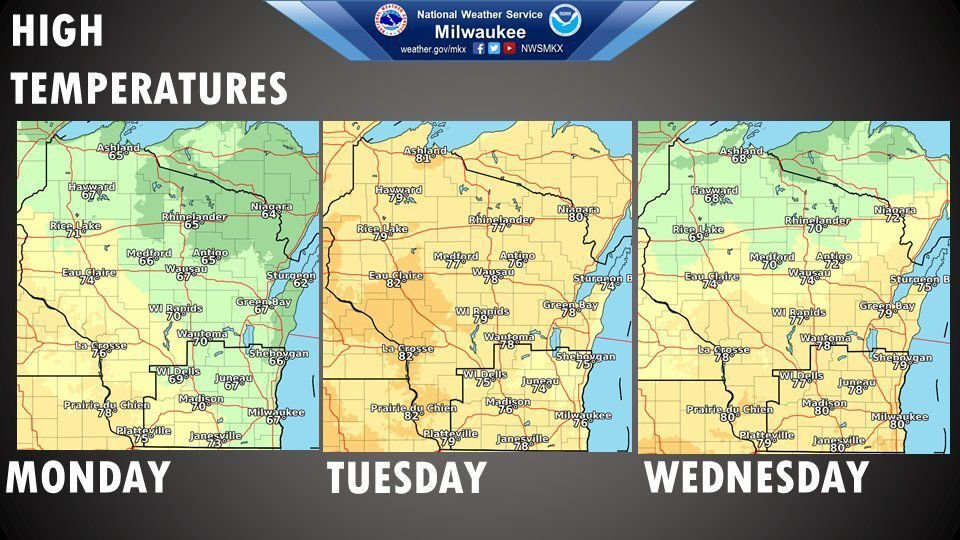National Weather Service forecast graphic 9-14-20