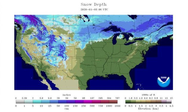 Snow depth by AccuWeather 1-6-20