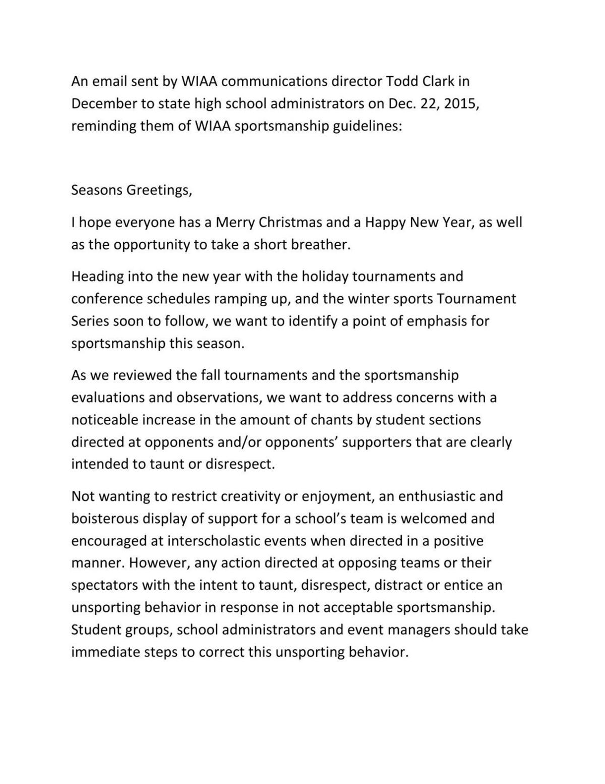 Dec. 22 letter on sportsmanship sent by WIAA's Todd Clark to state school administrators